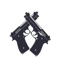 crossed modern pistols guns on white vector image vector image