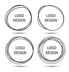 hand drawn circles for logo design vector image vector image