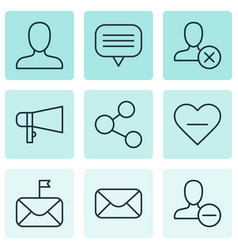 set of 9 social network icons includes bullhorn vector image