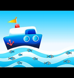A boat in the ocean vector image