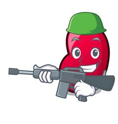 Army jelly bean character cartoon vector