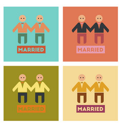 Assembly flat icons gay newlyweds vector