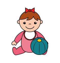 baby girl rubber ball toys vector image