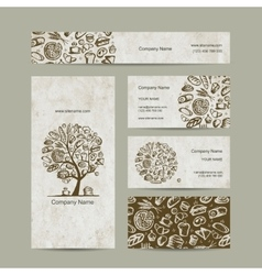 Bakery business cards design vector