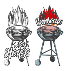 barbecue food meat steak roast grilled vector image