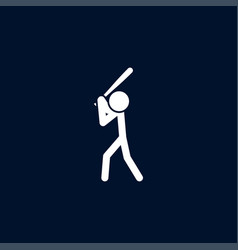 baseball player icon simple game element play vector image