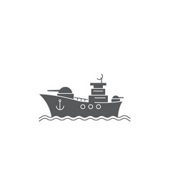 battleship icon navy symbol isolated on white vector image
