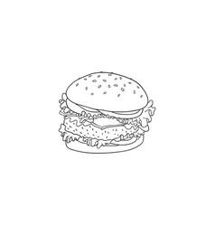 big hamburger with beef bun with sesame seeds and vector image