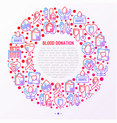 Blood donation mutual aid concept in circle vector