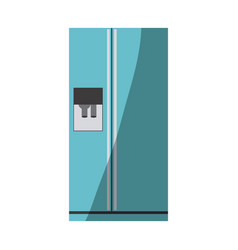 Blue color silhouette of fridge with water vector