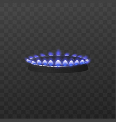Blue flame kitchen stove gas burner realistic vector