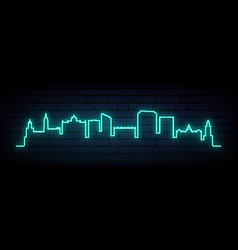 Blue neon skyline malaga bright malaga city vector