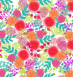 Bright pink roses seamless pattern vector image