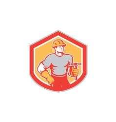 Builder Carpenter Holding Hammer Shield Retro vector