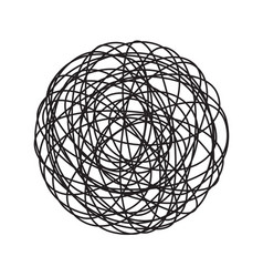 chaos tangle circle doodle line icon vector image
