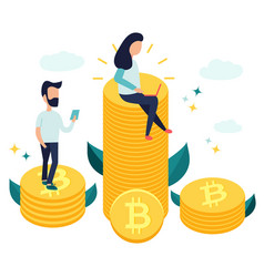 characters sitting on bitcoins and earning money vector image