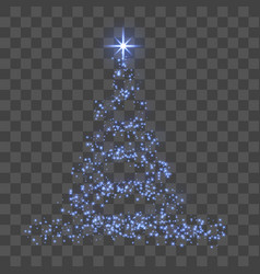 christmas tree 3d for card transparent background vector image