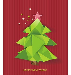 christmas tree folded green paper vector image