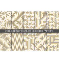 collection seamless geometric patterns vector image