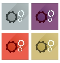 Concept of flat icons with long shadow gears vector
