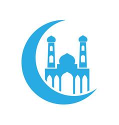crescent moon mosque islam icon design template vector image