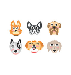 cute cartoon dog different breed muzzles vector image