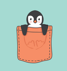 cute penguin inside the pocket vector image