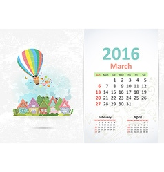 Cute sweet town calendar for 2016 March vector image