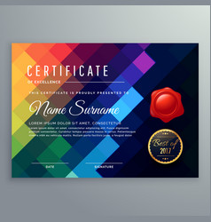 Dark certificate design with colorful mosaic vector