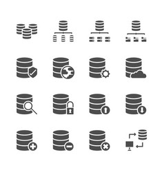 database system icon set in glyph design vector image
