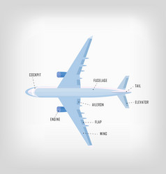 Decorative airplane in flat style with names of vector
