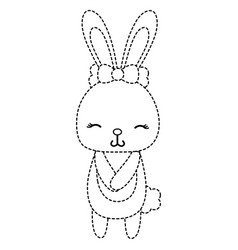Dotted shape cute and shy rabbit female wild vector