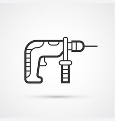 drill hand flat line black icon eps10 vector image