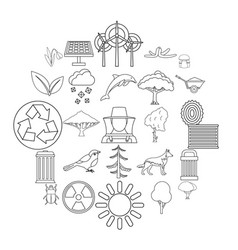 ecological care icons set outline style vector image