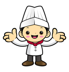 Executive chef character welcome isolated on vector