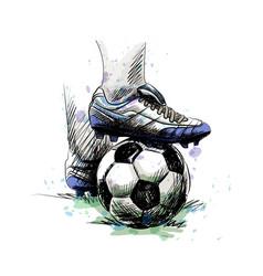 Feet football player tread on soccer ball for vector