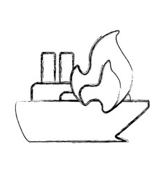 Figure emergency ship burnt and danger disaster vector