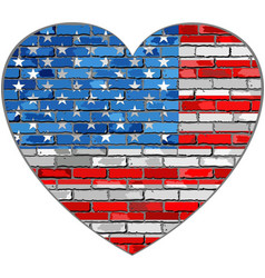 Flag of usa on a brick wall in heart shape vector