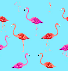 flamingo seamless pattern on mint blue background vector image