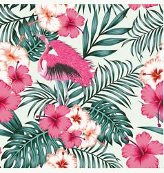 Flowers leaves flamingo seamless tropical pattern vector