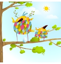 Funny bird on tree family mother and nestling egg vector