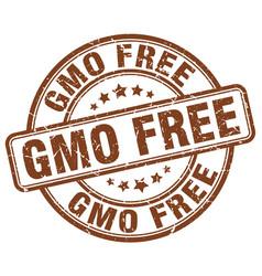 Gmo free brown grunge stamp vector