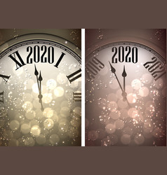Golden shiny happy new year 2020 card with clock vector