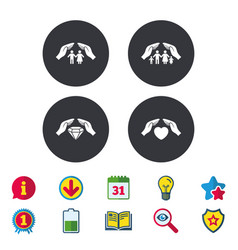 Hands insurance icons family life-assurance vector