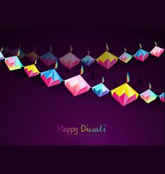 happy diwali celebration indian bunting origami vector image