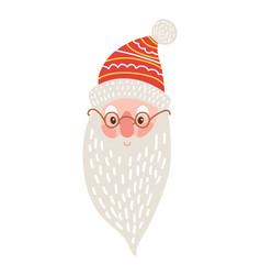 happy santa claus face icon vector image