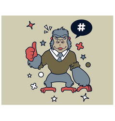 hipster gorilla cartoon t shirt design vector image
