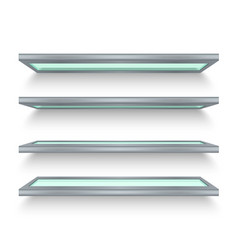 isolated realistic metal shelves with glass vector image