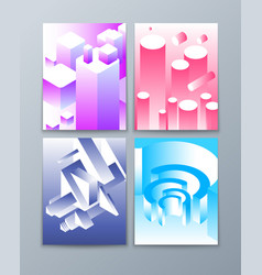 isometric abstract shapes 3d futuristic geometric vector image