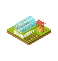 Isometric greenhouse gardening and planting vector